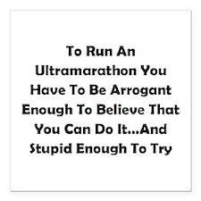 """Ultramarathon Saying Square Car Magnet 3"""" x 3"""""""