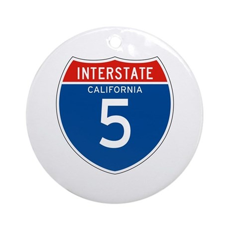 Interstate 5 - CA Ornament (Round)