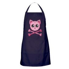 Kawaii Kitty Crossbones Apron (dark)