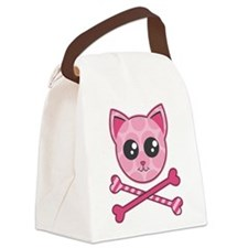 Kawaii Kitty Crossbones Canvas Lunch Bag
