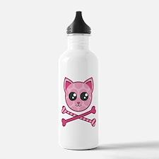 Kawaii Kitty Crossbones Water Bottle