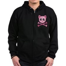 Kawaii Kitty Crossbones Zip Hoody