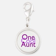 One Cool Aunt Silver Round Charm