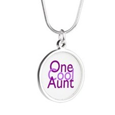 One Cool Aunt Silver Round Necklace