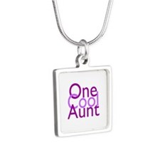 One Cool Aunt Silver Square Necklace