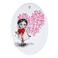 Malicious Valentine Girl Skull Heart Ornament (Ova