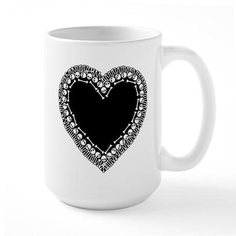 Pretty Skull Heart Large Mug