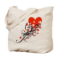 Heart With Skulls And Swirls Tote Bag