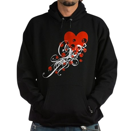 Heart With Skulls And Swirls Hoodie (dark)