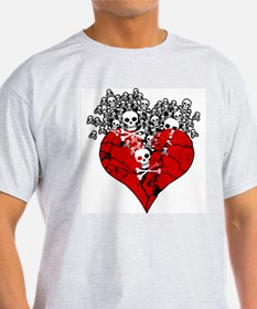 Broken Heart With Skulls T-Shirt