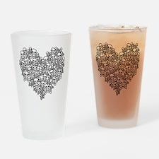 Skull Heart Drinking Glass