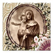 """Mother and Child Square Car Magnet 3"""" x 3"""""""
