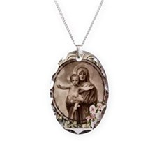 Mother and Child Necklace Oval Charm