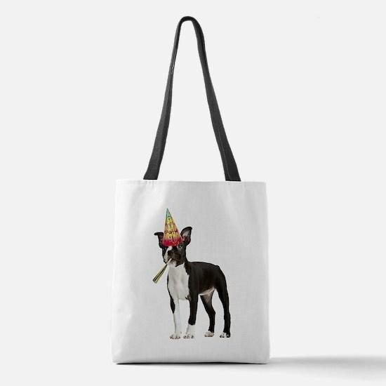 Boston Terrier Birthday Polyester Tote Bag
