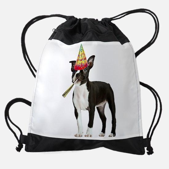 Boston Terrier Birthday Drawstring Bag