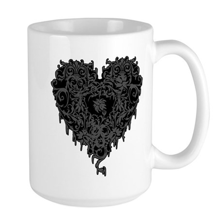 Ornate Grey Gothic Heart Large Mug