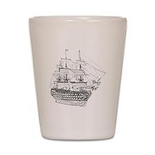 Classic Wooden Ship Sailboat Shot Glass