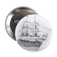 "Classic Wooden Ship Sailboat 2.25"" Button"