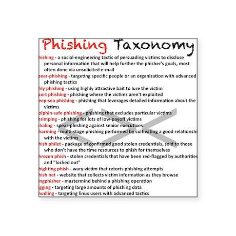 "Phishing Taxonomy Square Sticker 3"" x 3"""