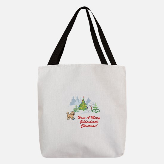 FIN-goldendoodle-christmas.png Polyester Tote Bag