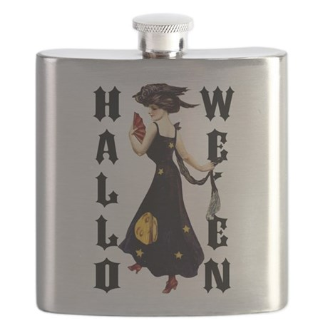 Vintage Halloween Lady Flask