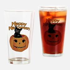 Vintage Halloween Cat In Pumpkin Drinking Glass