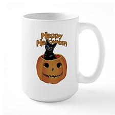 Vintage Halloween Cat In Pumpkin Mug