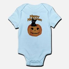 Vintage Halloween Cat In Pumpkin Infant Bodysuit