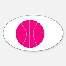 pink basketball Oval Decal