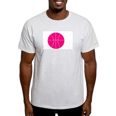 pink basketball Ash Grey T-Shirt