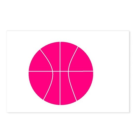 pink basketball Postcards (Package of 8)