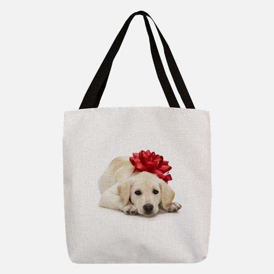 Yellow Lab Puppy Polyester Tote Bag