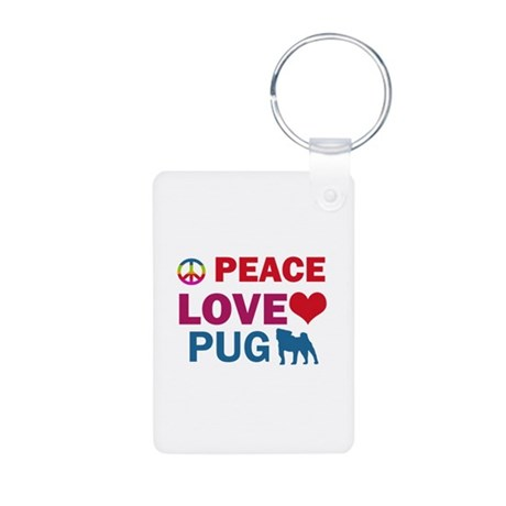 Peace Love Pug Aluminum Photo Keychain