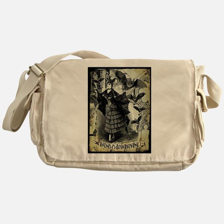 Victorian Halloween Bat Collage Messenger Bag