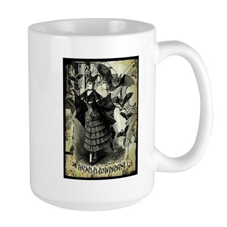 Victorian Halloween Bat Collage Large Mug