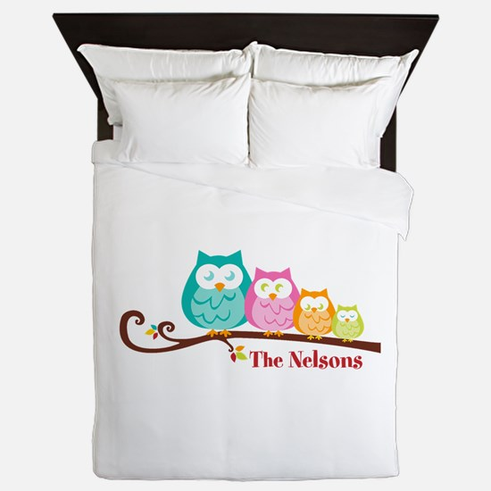 Custom owl family name Queen Duvet