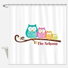 Custom owl family name Shower Curtain