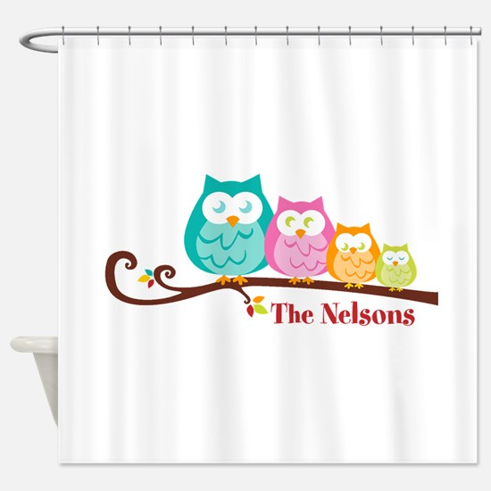 Custom owl family name Shower Curtain