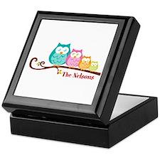 Custom owl family name Keepsake Box