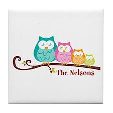 Custom owl family name Tile Coaster