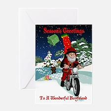 Boyfriend Christmas Card With Santa On Motorcycle