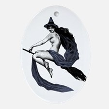 Vintage Saucy Witch Ornament (Oval)