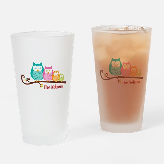 Custom owl family name Drinking Glass