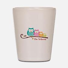 Custom owl family name Shot Glass