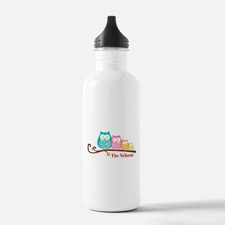 Custom owl family name Water Bottle
