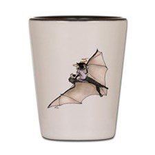 Tiny Witch On Bat Shot Glass