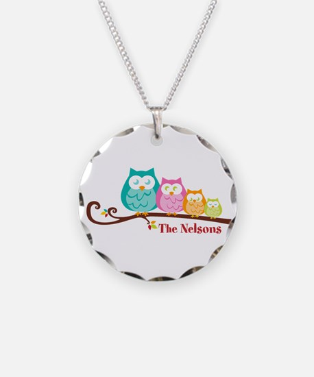Custom owl family name Necklace Circle Charm