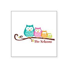"Custom owl family name Square Sticker 3"" x 3"""