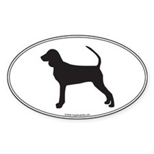 BT Coonhound Silhouette Oval Decal