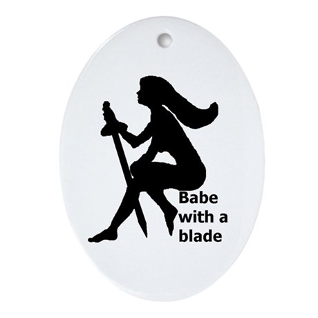 Babe With A Blade Oval Ornament